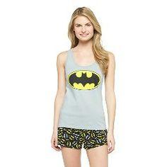 Women's Batman Logo Tank/Short PJ Set L