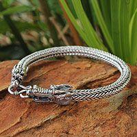 Men's sterling silver bracelet, 'Ode to Nagas' by NOVICA