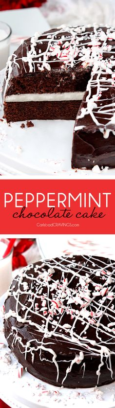 show stopping, company pleasing super moist Peppermint Chocolate Cake with a layer of Peppermint Vanilla Buttercream Frosting and enveloped by silky chocolate ganache is the ultimate Christmas dessert everyone will rave about! via @carlsbadcraving