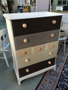 Wow!. Justine UpCycled this Stag Minstrel Chest oF Drawers by painting the carcass in Autentico 'Dolphin' Eggshell paint and the drawers in Autentico 'Dark Brown, Nutmeg, Dune and Linen' Vintage Chalk Paint. Very Contemporary. Do You Like It?????