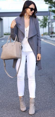 #summer #outfits  Grey Jacket + White Top + White Skinny Jeans + Grey Booties
