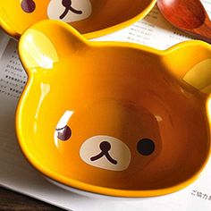 Easily bear the three-dimensional shape bowl cartoon bear head ceramic bowl rice rice bowl tableware creative Korean tableware bowls Recommended-ZZKKO