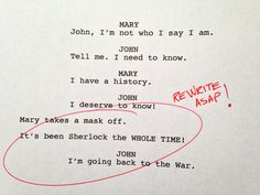 BBC Sherlock rough drafts
