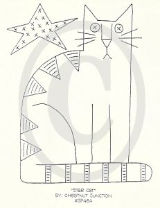 Hungarian Embroidery Patterns Star Cat Embroidery ePattern - x primitive embroidery - stitchery epattern. Epattern includes DMC color list and simple instructions. Broderie Primitive, Primitive Embroidery, Primitive Stitchery, Hungarian Embroidery, Primitive Patterns, Folk Embroidery, Paper Embroidery, Learn Embroidery, Simple Embroidery