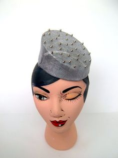 Silver Sinamay Studded Slanted Pillbox Cocktail Hat by ChefBizzaro, $75.00