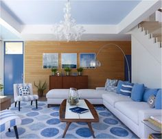 COLOR HARMONY: This is a monochromatic room, even though not every single thing is the same color. It's monochromatic because the overall color and feel is that of blue.