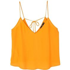 Flowy Strap Top ($25) ❤ liked on Polyvore featuring tops, shirts, embellished top, embellished v neck top, v-neck tops, spaghetti-strap tops and orange top