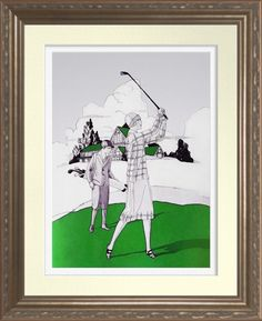 'Vintage Woman Golfer' - Watercolour Print.  Watercolor based on a 1925 Bell telephone magazine cover. Reproduced on Archival Heavyweight Paper. One for the golfer's wall https://www.zazzle.com/vintage_woman_golfer_watercolour_print-228833509545879913 #golf #print #vintage #1920 #sports #fashion