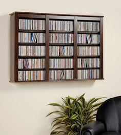 DVD Storage Cabinet CD Media Wall Hanging Organizer Blu Ray Disc Expresso Decor #Everett #Contemporary
