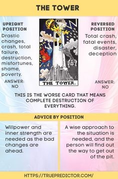 The Tower reversed and upright meaning for love, future and career Major Arcana Cards, Tarot Major Arcana, The Tower Tarot Meaning, Tarot Interpretation, Chakra Raiz, Tarot Astrology, Astrology Chart, Tarot Cards For Beginners, Tarot Card Spreads