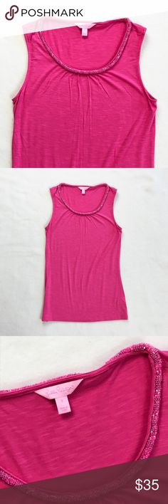 Lilly Pulitzer Lane Top Pink Beaded Tank Top Lilly Pulitzer beaded neckline tank top.  Lane top.  Sleeveless, rounded neckline.  Vibrant pink.  In like new condition.  95% rayon, 5% spandex. Lilly Pulitzer Tops Tank Tops