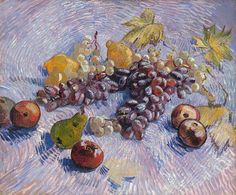off Hand made oil painting reproduction of Still Life With Apples Pears Lemons And Grapes, one of the most famous paintings by Vincent Van Gogh. In because of lack of money, Vincent Van Gogh moved in with his brother Theo in Paris, Franc. Van Gogh Museum, Städel Museum, Vincent Van Gogh, Art Van, Van Gogh Exhibition, Van Gogh Still Life, Van Gogh Arte, Still Life With Apples, Van Gogh Paintings