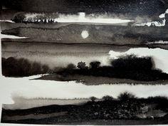 Petite musique de nuit (Peinture),  32x24 cm par clau Redier-Clément Petite musique de nuit - Paysage nocturne à l'encre de Chine sur papier 24X32cm Tableau Paysage nocturne et hivernal. Lumières nocturnes sur de multiples horizons parsemés de plaques neigeuses, ça-et-là, un paysage quasi asiatique où la présence humaine est suggérée par un habitat que l'on devine en ombre chinoise.  Peinture à l'encre de Chine (noir sur blanc) sur papier spécial aquarelle 325g/m2 à grain torchon (reliefé)…