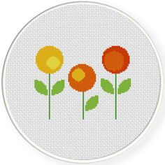FREE for Nov 17th 2016 Only - Round Florals Cross Stitch Pattern