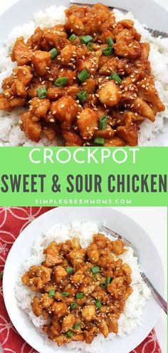 This sweet and sour crockpot chicken dinner recipe is to die for! Skip your usual Chinese take-out and make this easy and healthy slow cooker alternative! recipe Best Crockpot Sweet and Sour Chicken Recipe-Simple Green Moms Crockpot Sweet And Sour Chicken Recipe, Crockpot Chicken Dinners, Sweet Sour Chicken, Crockpot Dishes, Crockpot Asian Recipes, Recipe Chicken, Asian Chicken Slow Cooker, Chinese Slow Cooker Recipes, Healthy Crockpot Chicken Recipes