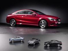 Mercedes-Benz Accessories: CLA-Klasse Modellauto von Schuco in universumblau, mountaingrau und kosmosschwarz im Maßstab 1:43. Artikelnummer:  B66960129, B66960128 und B66960127, Preis 29,90 Euro (inkl. MwSt., gültig für Deutschland).