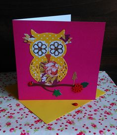 Set of 3 Handmade Owl Cards. Card Birthday, Birthday Greeting Cards, Owl Card, Unique Jewelry, Handmade Gifts, Crafts, Etsy, Vintage, Kid Craft Gifts