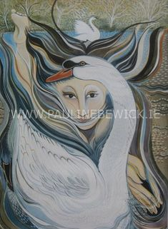 Pauline Bewick - Woman and Swan Colors And Emotions, Irish Art, Limited Edition Prints, Watercolor Paintings, Level 5, Artwork, Crafts, Swan, Animals