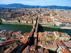 Aerial City View  Photograph by Stefano Amantini/Atlantide/Corbis    Florence in all its glory: An aerial city view takes in the domed cathedral, city hall, Piazza della Signoria, and Ponte Vecchio.