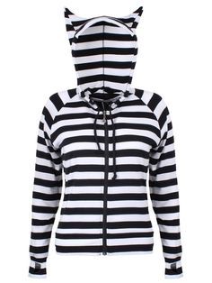 The trendy designer Cat Ears Striped Hoodie has some lovely details. It is an all-over striped pattern and features a hood with cat ears. There is a drawstring at the neck. The front zips up using a s