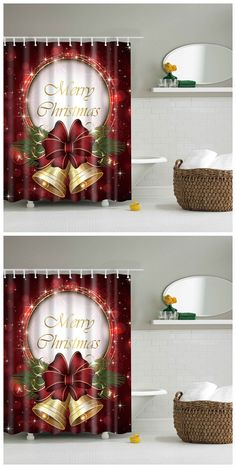 Christmas Bell Bathroom Mildewproof Waterproof Shower Curtain Holiday Shower Curtains, Cheap Shower Curtains, Christmas Bells, Vintage Christmas, Christmas Holidays, Christmas Ideas, Christmas Crafts, Christmas Decorations, Holiday Decor