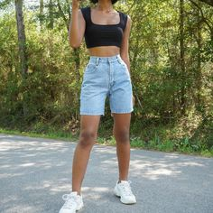Vintage Outfits, Retro Outfits, Mode Outfits, Fashion Outfits, Vintage Shorts, Swag Fashion, Vintage Denim, Cute Casual Outfits, Short Outfits