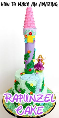 Rapunzel Cake - This Tangled birthday cake is perfect for your princess party! It's an adorable princess cake that was so much fun to make and even more fun to eat! Plus, it's a lot easier than it looks Rapunzel Birthday Cake, Rapunzel Cake, Cool Birthday Cakes, Birthday Fun, Birthday Parties, Cake In A Cone, Yellow Candy, Cakes Plus, Candy Flowers