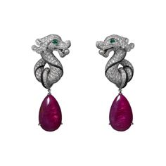 High Jewelry earrings White gold, two ruby drops totaling 21.47 carats, emerald eyes, two natural pearls, onyx, brilliants from the collection L'Odyssée de Cartier - Parcours d'un Style