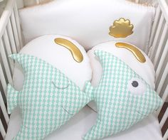 Baby cot bumpers, fish and bubbles Other colours are available for this design Matching sleeping bag and changing set available. Please contact me if you w. Baby Cot Bumper, Baby Crib Bumpers, Baby Cribs, Baby Raccoon, Star Cushion, Ring Pillow Wedding, Fabric Toys, Sleeping Bag, Nursery Room