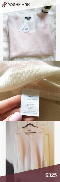 NWT! VINCE Cashmere Sweater 🌸 NWT! Beautiful, classic, and chic cashmere cardigan. Perfect condition! colors: eggshell white and blush pink 🌸 Vince Sweaters Cardigans