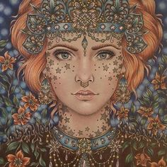 How stunning?! Just look at the eyes and the color palette, beautiful dont you think?Love this coloring by @mcrpain that I found scrolling through #hannakarlzon Its a page from my coloring book #magiskgryning ✨ #repost #adultcoloring #magicaldawn #coloringforadults #hannakarlzon #colouring #magiskgryning