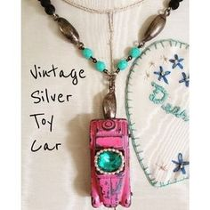 ChicEVintage Jewelry - Repurposed Vintage Pink Toy Car Necklace