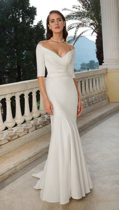 Effortless stretch Mikado Justin Alexander gown, Available to buy at Dotty Bridal Holmfirth near Huddersfield. Long Sleeve Gown, Long Sleeve Wedding, Wedding Dress Sleeves, Elegant Wedding Dress, Dream Wedding Dresses, Wedding Gowns, Slinky Wedding Dress, Timeless Wedding, Lace Wedding