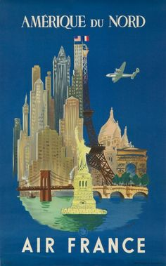 Travel poster by Luc-Marie Bayle French), Air France North America, Printer : Hubert Baille & Cie, Paris, x 2 in. Air France, Retro Poster, Vintage Travel Posters, Vintage French Posters, Vintage Advertisements, Vintage Ads, Retro Airline, Vintage Airline, Wall Art Prints