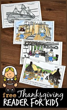 FREE Thanksgiving Emergent Reader  - these free Thanksgiving printables to help kids learn about the first Thanksgiving for kids including the pilgrims and native Americans. Just color and read. #thanksgiving #kindergarten #emergentreader