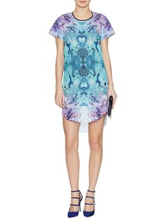 Printed Curved Hem Shift Dress from Prints Please on Gilt