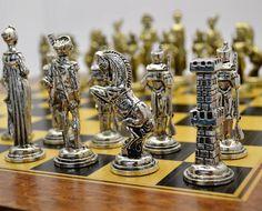 Napoleonic Chess Set / Wooden box 42X42cm