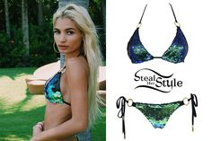 Pia Mia posted a picture today wearing a Mermaid Sequin Triangle Top ($130.00) & Mermaid Sequin Tie Side Bottom ($120.00) by Beach Bunny Swimwear.
