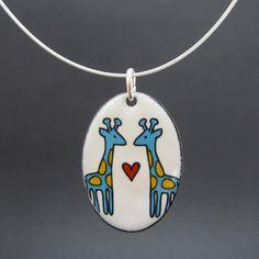 Giraffe Love enamel necklace