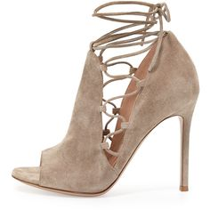 Gianvito Rossi Side Lace-Up Peep-Toe Bootie, Cashmere (7,060 CNY) ❤ liked on Polyvore featuring shoes, boots, ankle booties, short boots, lace up booties, lace-up ankle booties, bootie boots and lace-up ankle boots