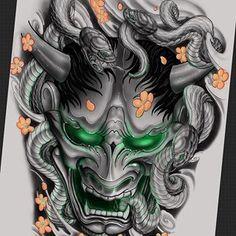 tattoos in japanese prints Japanese Mask Tattoo, Tattoo Japanese Style, Traditional Japanese Tattoos, Japanese Tattoo Designs, Hannya Mask Tattoo, Hanya Tattoo, Demon Tattoo, Samurai Tattoo, Body Art Tattoos