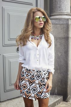 Nada Adelle wears Quiz Clothing Skirt http://www.nadaadelle.com/2014/07/all-about-aztecs.html