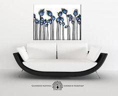 Fields of Joy - Swarovski & glitter large abstract painting, peacock blue decor, large wall art, large abstract art, large art