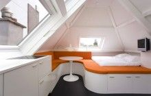 Dutch Accents: Tiny Condo Uses Curved Walls, Color & Light | Designs & Ideas on Dornob