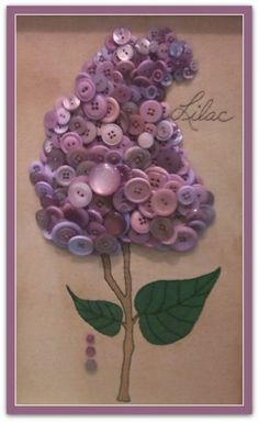 Lilac Button Art - maybe could color white buttons with alcohol inks shaken inside a ziplock baggie