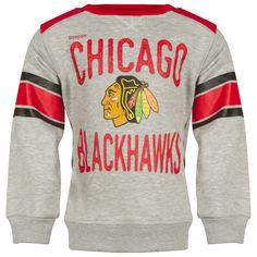 Chicago Blackhawks Kids Text and Primary Logo Striped Sleeve Crew Neck Sweatshirt by Reebok #Chicago #Blackhawks #ChicagoBlackhawks