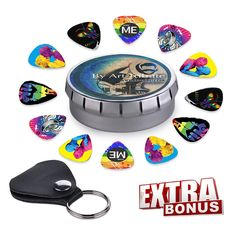 Amazon.com: Gay Pride LGBT Themed Guitar Picks| Set Of 12 Celluloid Picks W/ 6 Amazing Designs| Complete W/ Sleek Tin Box, Leather Keychain Pick Holder| Ideal For Acoustic, Electric, Bass Guitar & DIY Projects: Musical Instruments