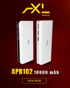 Power Bank with 10000 mAh capacity, 500 Times of Life cycle and can charge three devices at Once.
