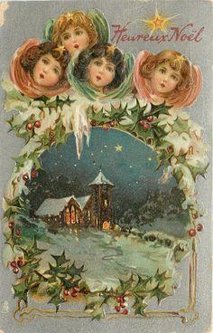 """Vintage Christmas Card """"HEUREUX NOEL"""" 1908 / Frances Brundage"""