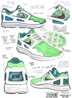 Complex: 25 Must-See Design Sketches Of Your Favorite Sneakers Nike Design, Sneakers Sketch, Flat Drawings, Shoe Room, Nike Wedges, Nike Air Mag, Nike Joggers, Popular Sneakers, Shoe Sketches